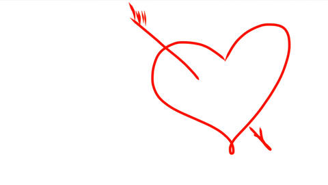 Arrow went straight through heart. Hand drawing of red heart with arrow. Drop of Image