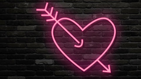 Red pink heart amazed by arrow. Neon glow flashings. Turn on and turn off. Dark Footage