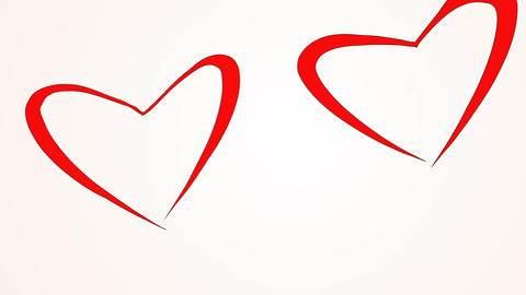 Couple shape of loving hearts fly together. Love concept. Red hearts flying like Footage
