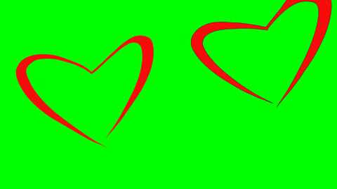 Couple shape of loving hearts fly together. Love concept. Red hearts flying like Live Action
