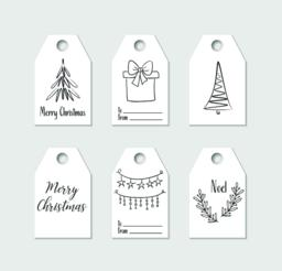 Hand drawn Christmas gift tags. Vector labels Vector