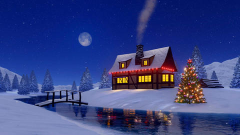 Rustic house and christmas tree at snowy night Filmmaterial