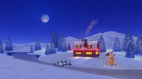 Illuminated house at snowfall Christmas night Footage