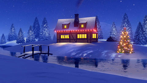 Rural house decorated for Christmas at snowfall night Footage