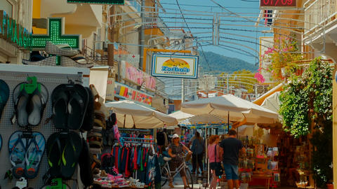 The bazaar marketplace, Greek Islands, Greece Footage