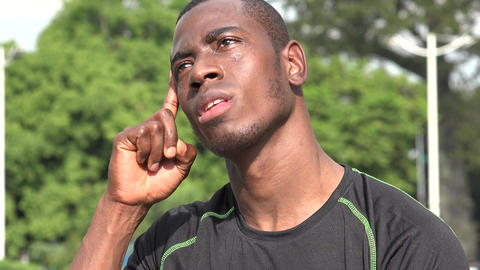 C0033 intelligent african male athlete having an idea Live Action