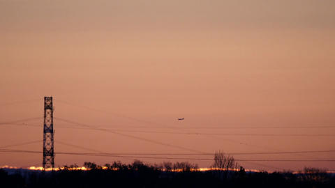 Aircraft approaching Haneda airport before the sunrise Footage