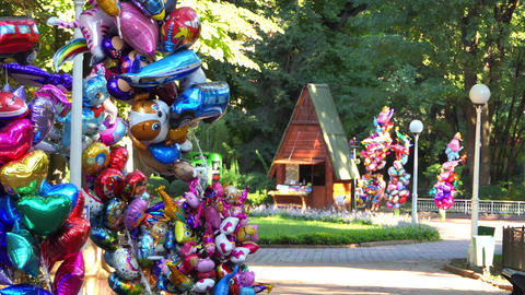 a Fairy Tale Boutique Sells Balloons in a Foresr in Poland in Summer in 4k Footage