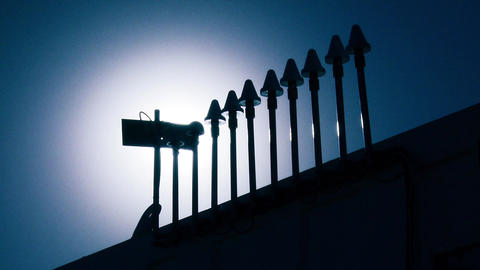 Telecommunications Antennas against blue Sun Footage