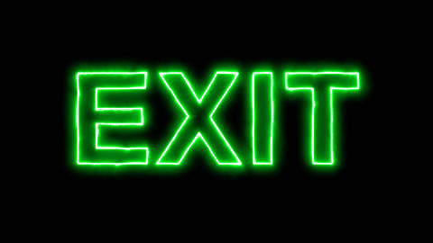 Neon flickering green text EXIT in the haze. Alpha channel Premultiplied - Animation