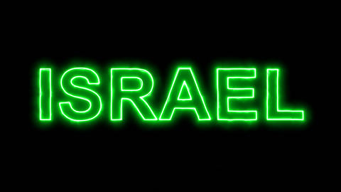 Neon flickering green country name ISRAEL in the haze. Alpha channel Animation