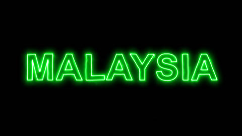 Neon flickering green country name MALAYSIA in the haze. Alpha channel Animation