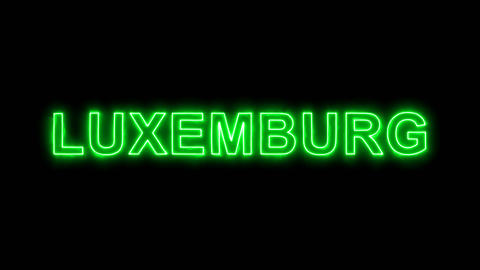 Neon flickering green country name LUXEMBURG in the haze. Alpha channel Animation