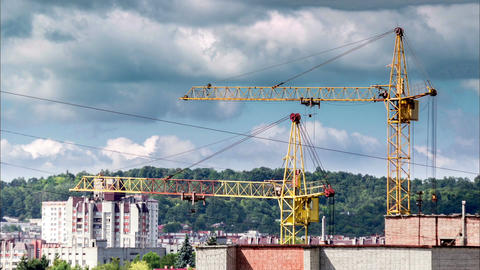 Crane working timelapse sky Footage