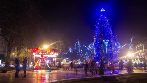 Christmas treesnowy night timelapse Footage