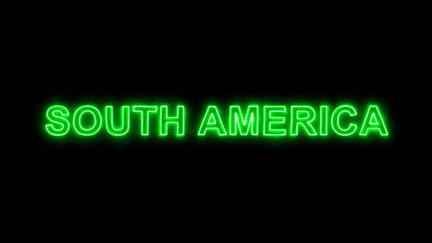 Neon flickering green continent name SOUTH AMERICA in the haze. Alpha channel Animation