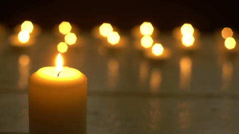 White candles light romantic theme Footage