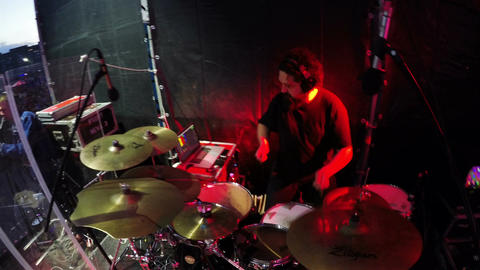 Closeup Musician Beats on Drum Set Performing in Band Staff Footage