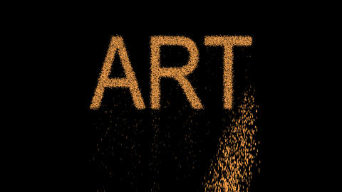 text ART appears from the sand, then crumbles. Alpha channel Premultiplied - Animation