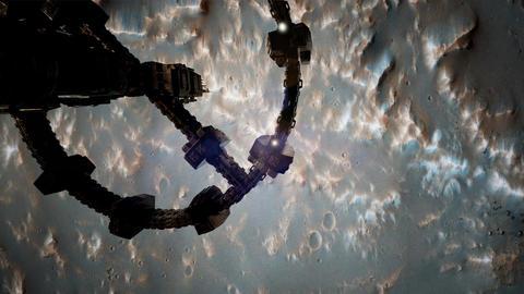 Top view of Surveyor spacecraft above Mar Filmmaterial