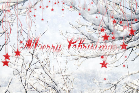 Merry Christmas Sign With Hanging Stars and Snowflakes Illustration フォト