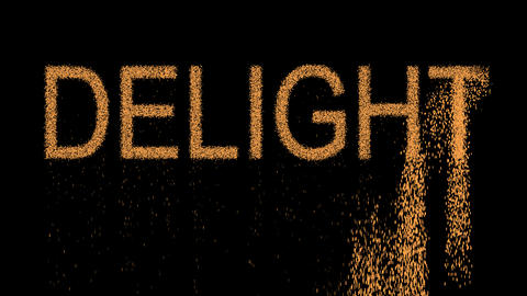 text DELIGHT appears from the sand, then crumbles. Alpha channel Premultiplied - Animation