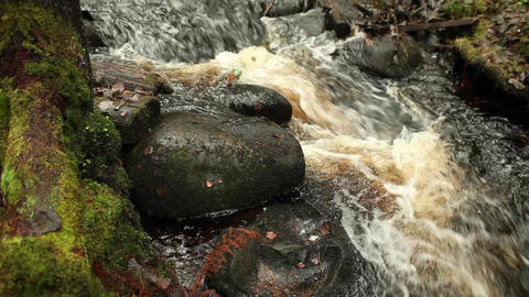 flow of water falls on stone Footage