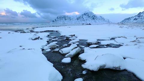Creek on the Winter Lofoten Beach Footage