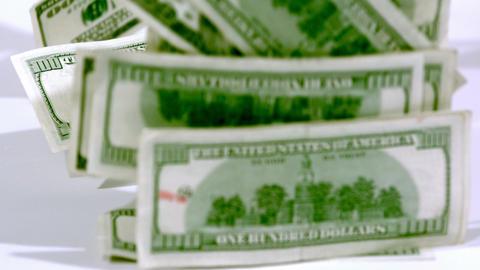 Slow motion falling cash bundle ビデオ