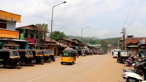 Indian Town Street With Motor Rickshaws Footage