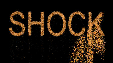 text SHOCK appears from the sand, then crumbles. Alpha channel Premultiplied - Animation