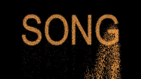 text SONG appears from the sand, then crumbles. Alpha channel Premultiplied - Animation