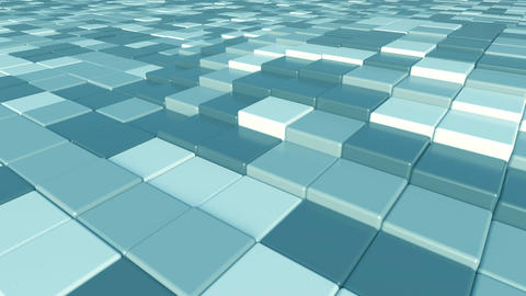Moving square blue tiles motion background, seamless loop Footage
