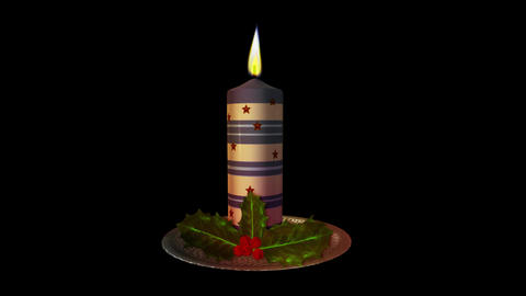 Christmas Candle - Blue and White - Transparent Loop Animación