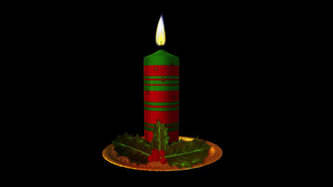Christmas Candle - Red and Green - Transparent Loop Animation