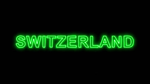 Neon flickering green country name SWITZERLAND in the haze. Alpha channel Animation