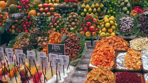 Store Dispaly Exotic Fruits and Vegetables Market Stock Video Footage