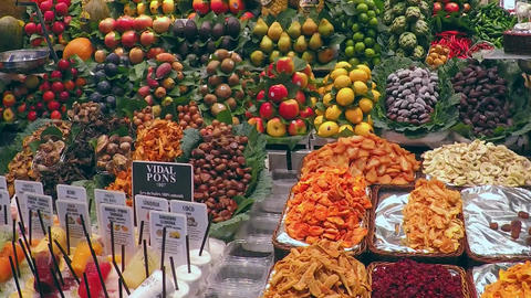 Store Dispaly Exotic Fruits and Vegetables Market Footage