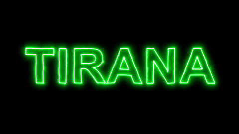 Neon flickering green capital name TIRANA in the haze. Alpha channel Animation