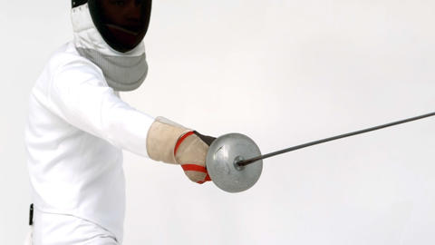 Sportsman playing fencing Footage