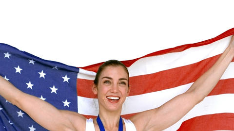 Happy athlete holding American flag Footage