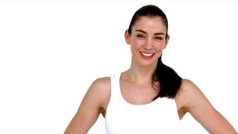 Smiling fit woman showing thumbs up Footage