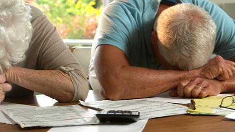 Senior couple worried about bills Footage