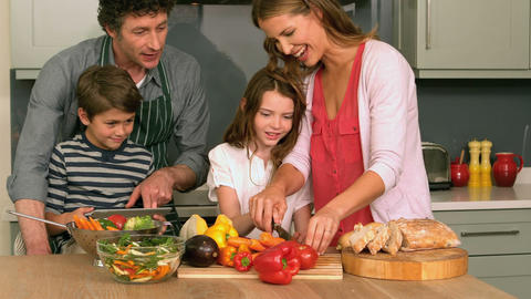 Cute family preparing lunch Footage