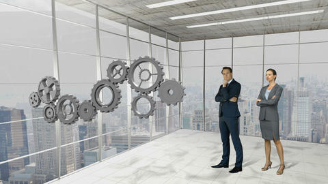 Business people standing in front of gear-wheels Animation