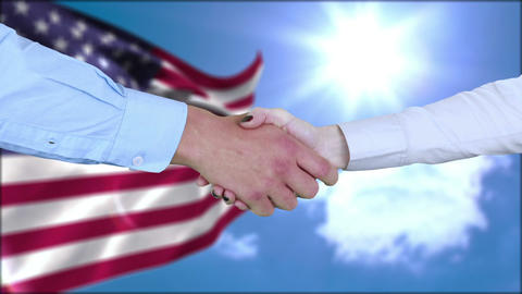 Business people shaking hands Animation