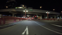 Nightscape drive over the Azumabashi Bridge over Sumida River and Asahi headquar Live Action