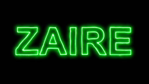 Neon flickering green country name ZAIRE in the haze. Alpha channel Animation
