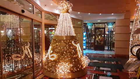 Christmas Tree in a Luxury Shopping Center in Monaco Footage