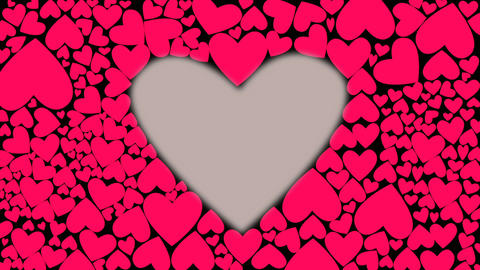 Red pink heart shape. Heartbeat like drums motion. Animation of hearts bounce on Live Action